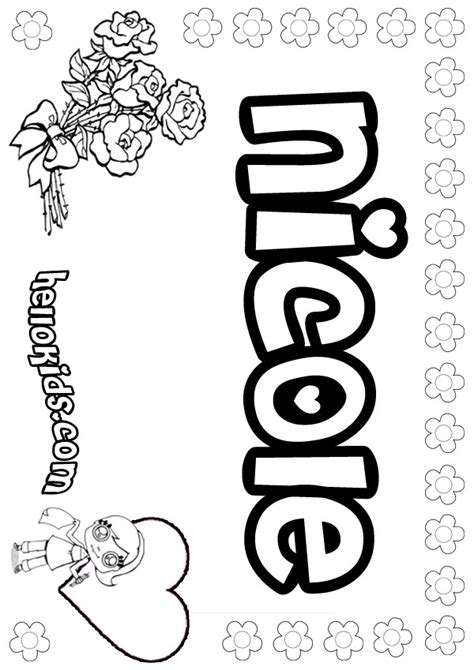 girls name coloring pages, Nicole girly name to color