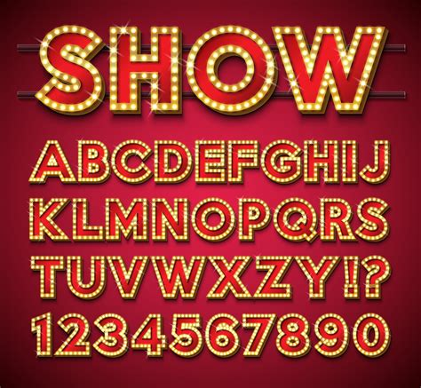 Light Bulb Alphabet on red background - Download Free