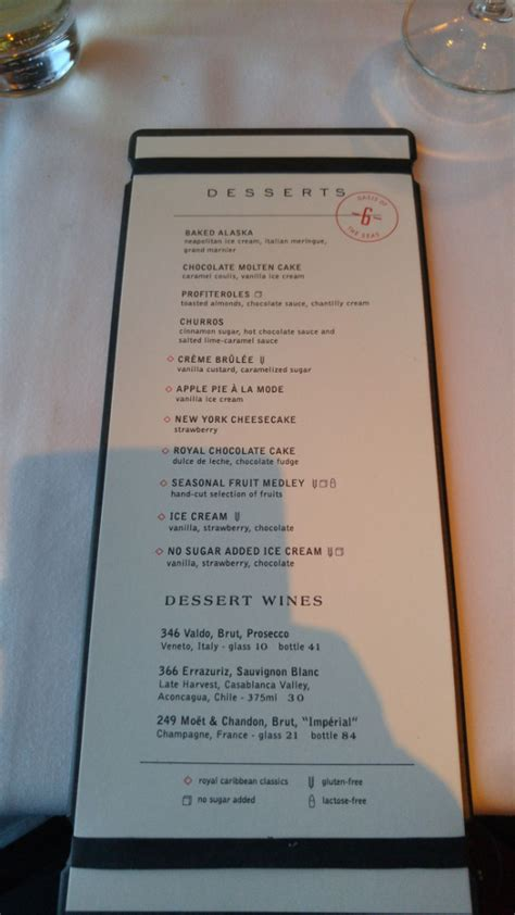 Spotted: New main dining room menu on Royal Caribbean's