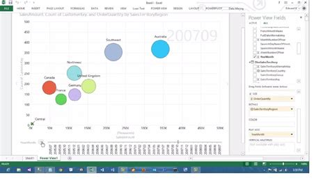 Excel 2013 PowerView Animated Scatterplot/Bubble Chart
