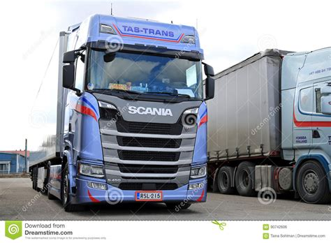 Blue Next Generation Scania S450 Semi Parked Editorial
