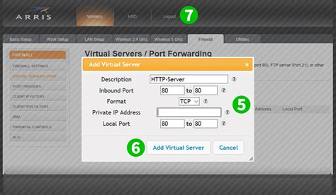Enable port forwarding for the Arris TG1692A - cFos Software