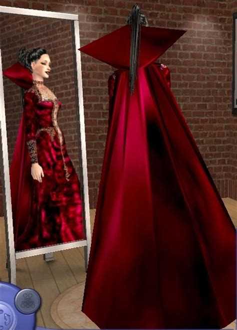 Mod The Sims - Red FantasyDress with cape!