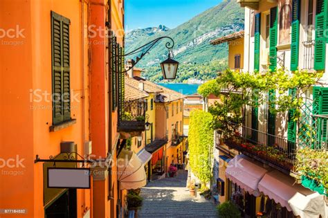 Picturesque And Colorful Old Town Street In Bellagio City